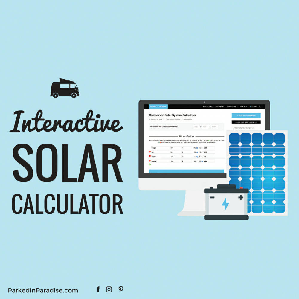 Campervan Solar Calculator To Help You Decide How Many Solar Panels Batteries And What Size Invert Solar Calculator Solar Panel Calculator Solar Power Panels