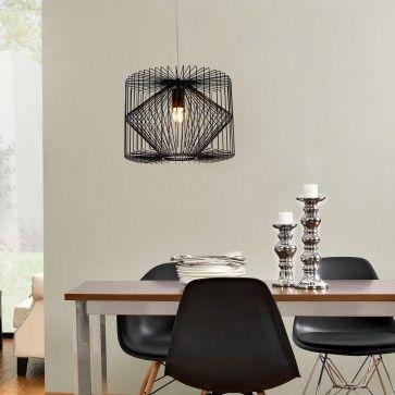 luxpro Deckenleuchte Schwarz Metall Pendelleuchte Gitter Esszimmer