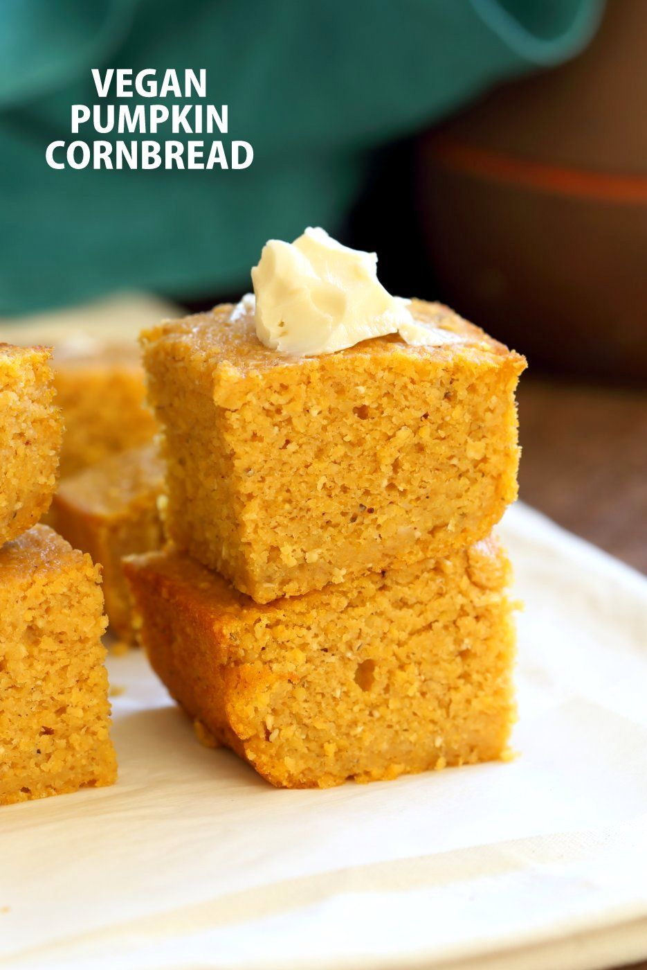 Vegan Pumpkin Cornbread - 1 Bowl 1 Bowl Vegan Pumpkin Corn bread with a few ingredients. Spiced, lightly sweet and great with soups, chilis or on its own with vegan butter and maple syrup or make sandwiches with it. |