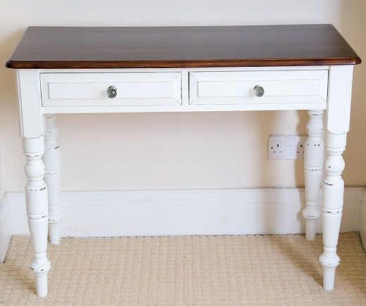 Shabby Chic Desk White Paint With Wood Top 2 Drawers
