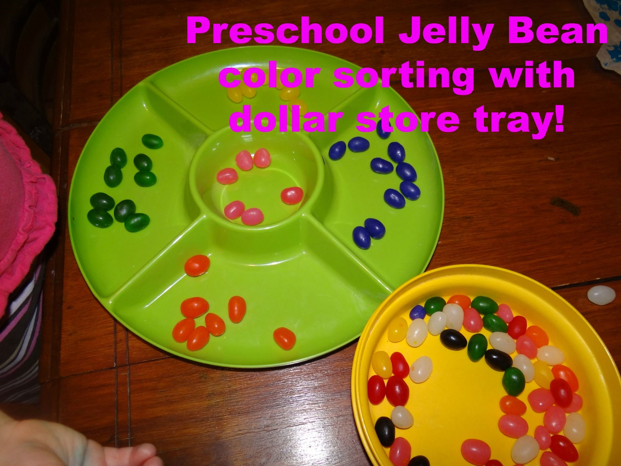 Preschool Jelly Bean Color Sorting With Dollar Store Tray