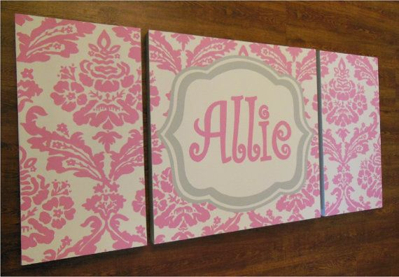 large modern nursery art- personalized triptych painting- name monogram initials- M2M decor- pink grey damask