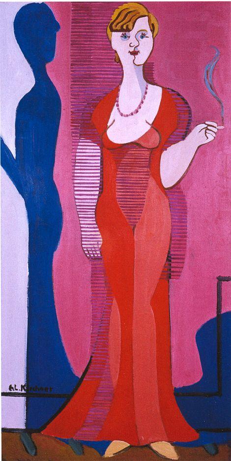 Ernst Ludwig Kirchner, Blonde Frau in einem roten Kleid (Porträt von Elisabeth Hembus) - 1932