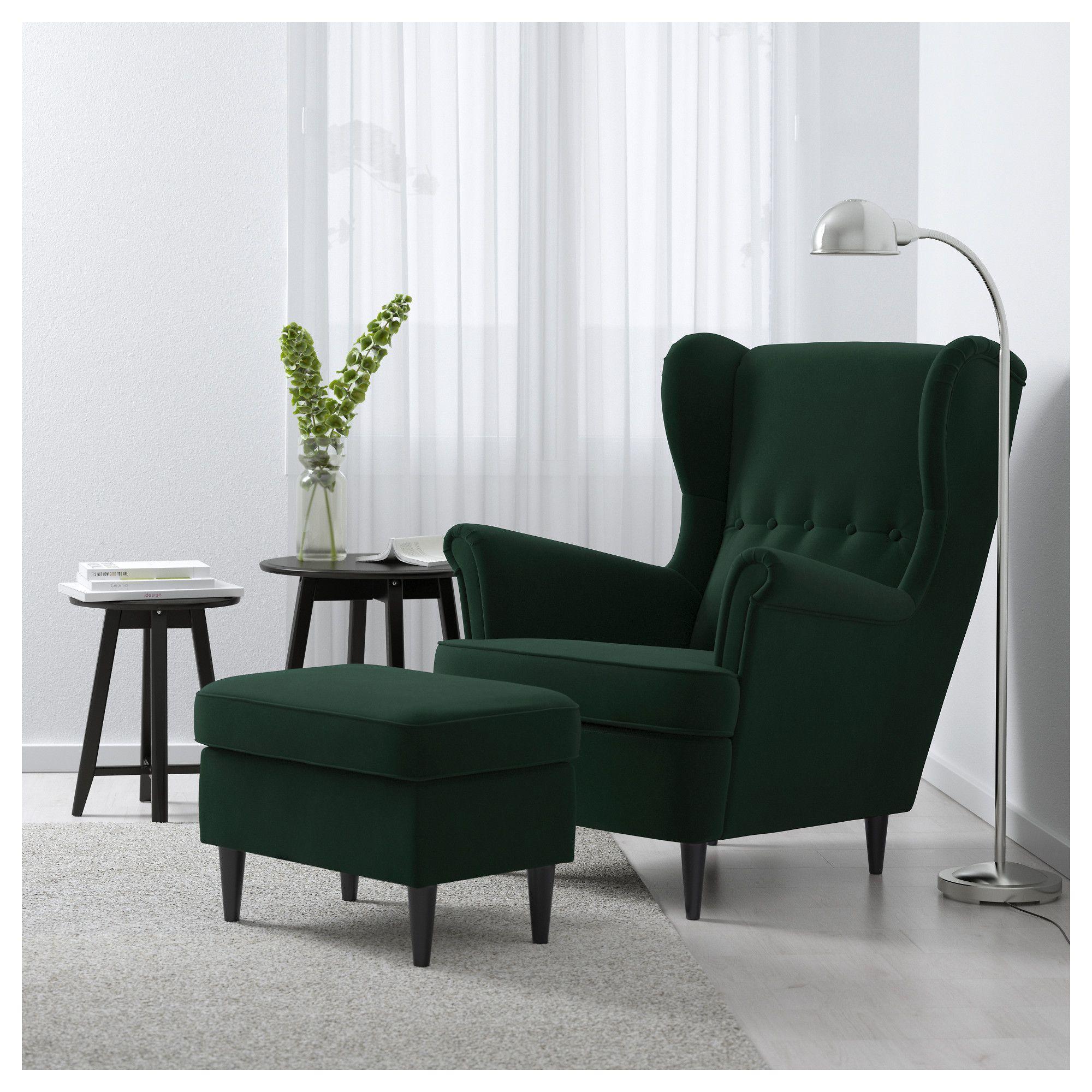 IKEA   STRANDMON Wing Chair Djuparp Dark Green