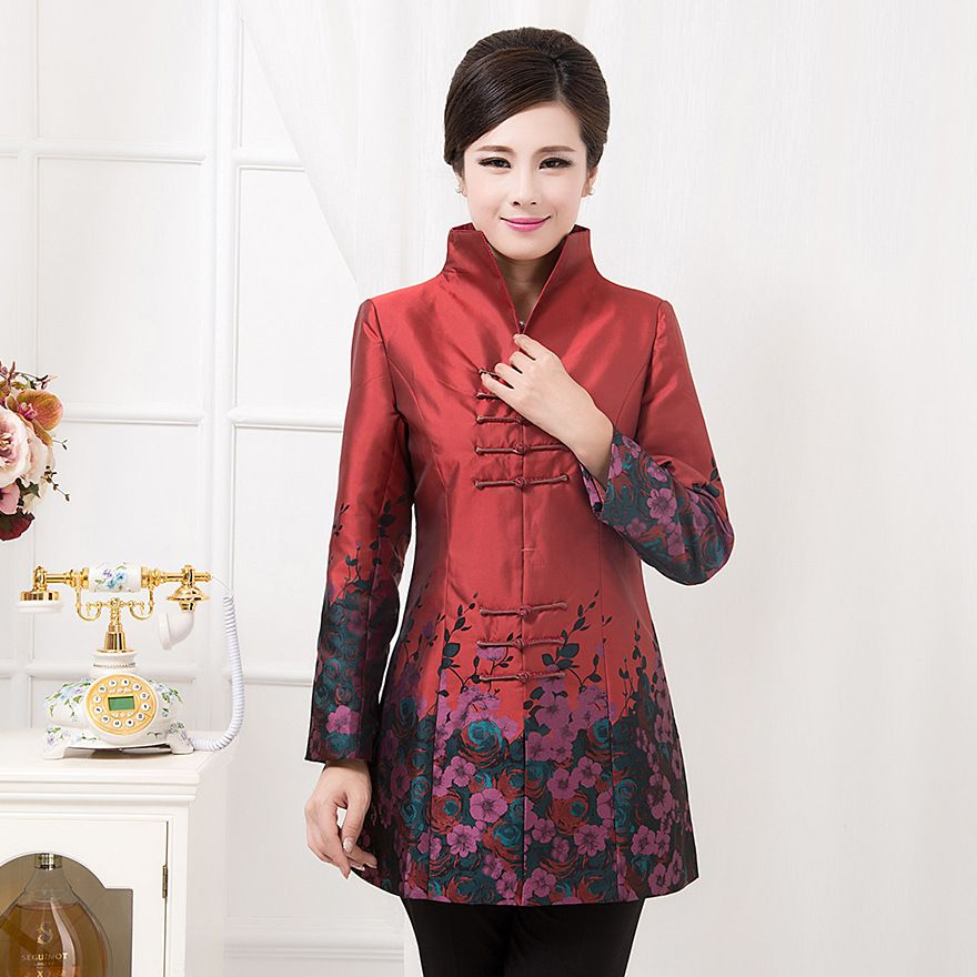 Chinese Women Tang Suit Jackets Embroidery Plus Size Purple Print