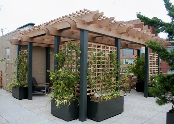 Smart Use Of Planters And Trellis To Define Space. Would Have White Cast  Aluminum With Wood Trellis And Planter Boxes Deck With Planter / Arbor /  Trellis On ...