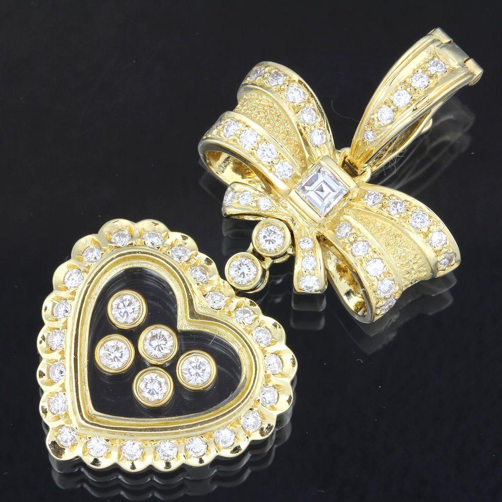 Ponte Vecchio Diamond 0.75ct,0.11ct K18 Yellow Gold Heart Ribbon Charm #20531 #PonteVecchio #charm