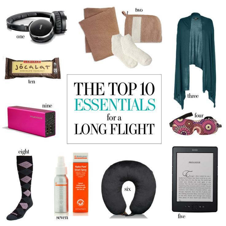 Top ten essentials for a long flight. Website includes other great tips for traveling safely including ideas on how to pack.