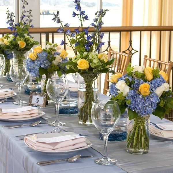 Blue yellow centerpiece and centerpieces