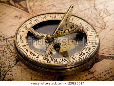 old compass on vintage map 1752 - stock photo | Vintage Optics ...
