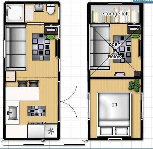 Tiny house on wheels floor plan with single loft how for Small house plans with loft