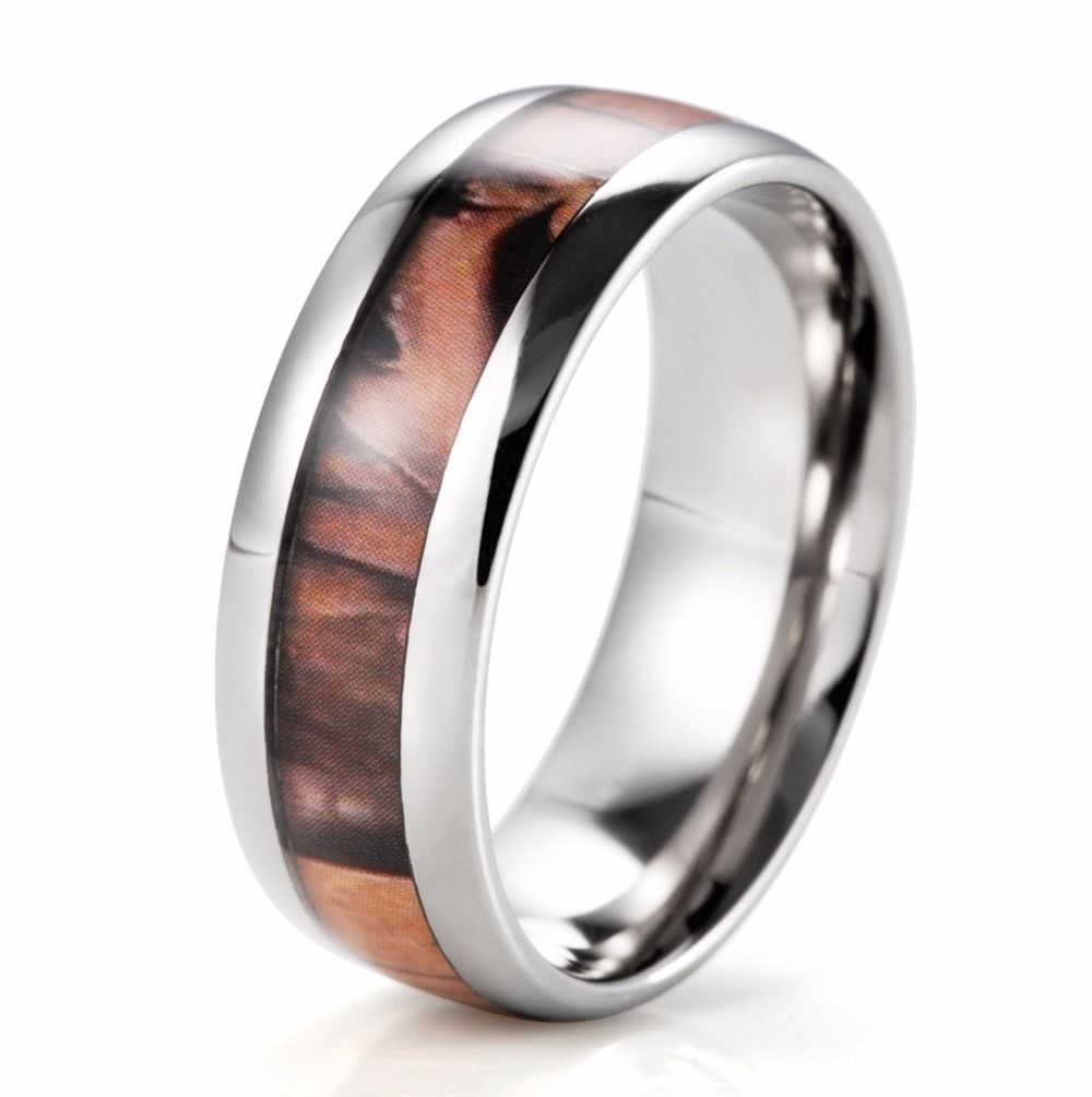 Engagement Ring Men Quality Directly From China Suppliers Shardon Domed Pure Anium Brown Tree Camo