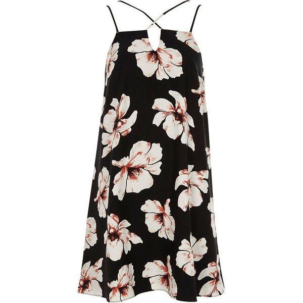 774fec1b36 River Island Black floral cross strap slip dress ( 24) ❤ liked on Polyvore  featuring dresses