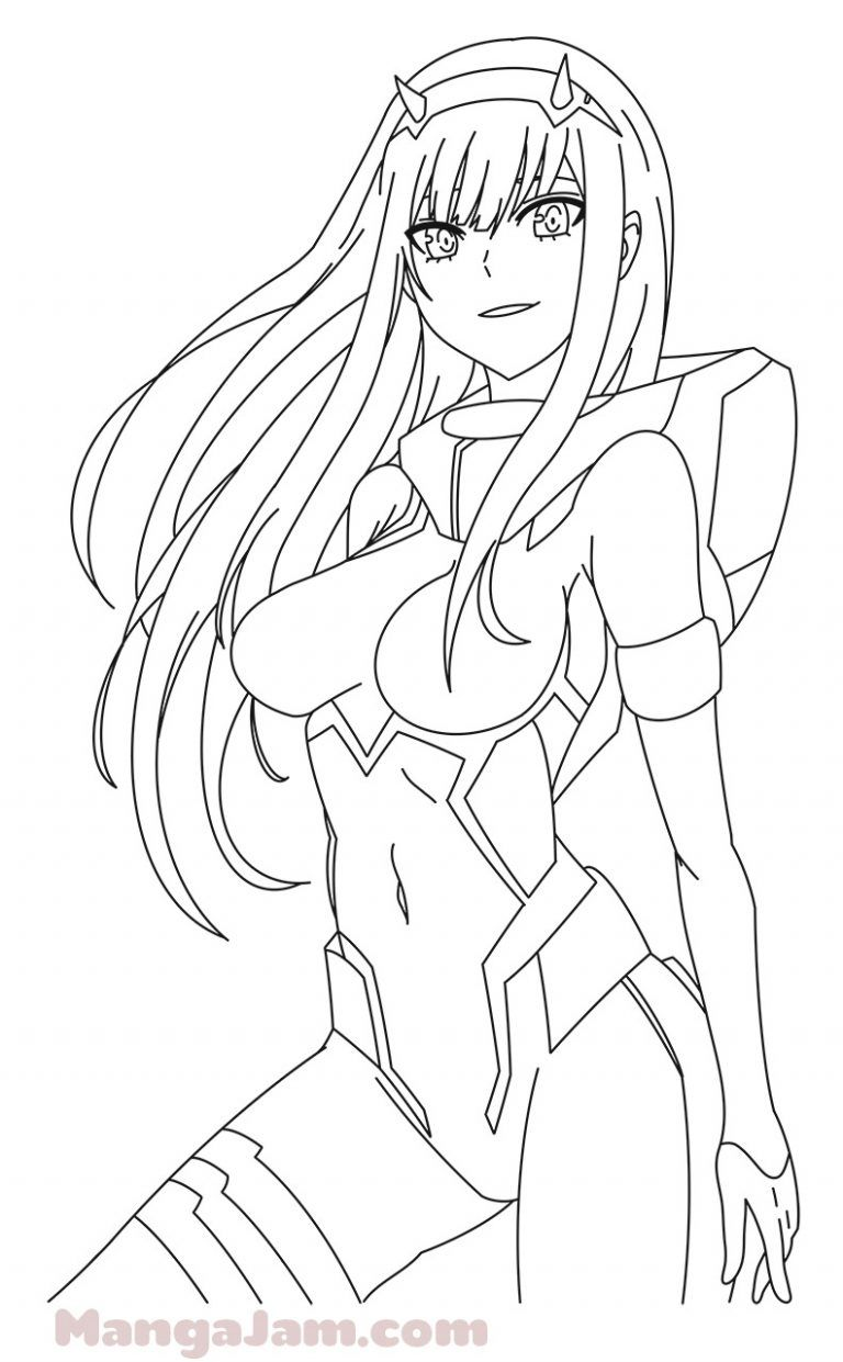 How To Draw Zero 2 From Darling In The Franxx Mangajam Com Anime Lineart Darling In The Franxx Anime Sketch