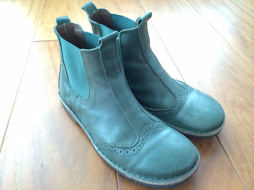 Bisgaard Dk 37 Chelsea Leder Stiefel Budapester Muster Petrol Grun Schuhe Fur Madchen Stiefel Schuhe
