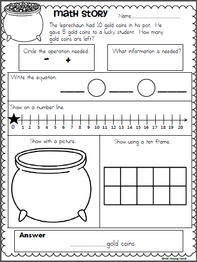 free st patrick 39 s day subtraction story math worksheet classroom creations math pinterest. Black Bedroom Furniture Sets. Home Design Ideas