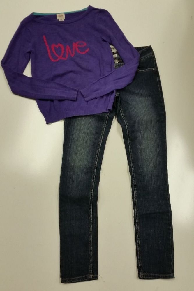 Girls Skinny Jeans size 1, Love Purple Sweater XS Juniors #SO ...