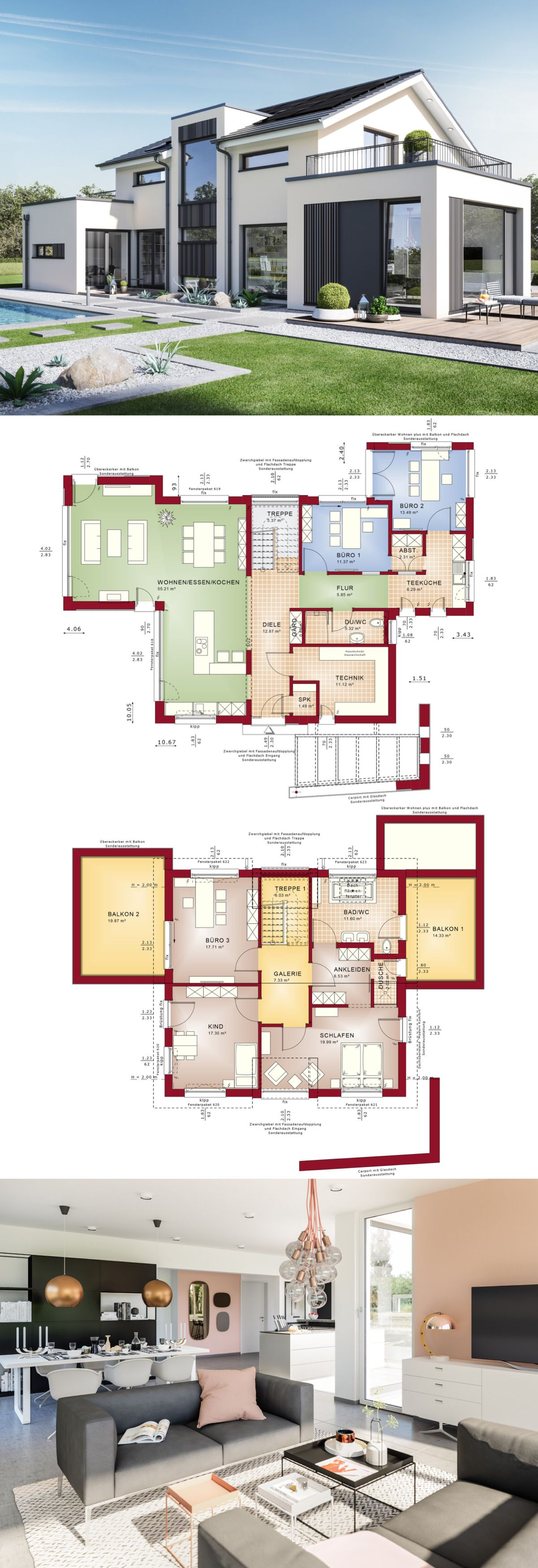 Modernes Design   Haus Concept M 154 Bien Zenker   Einfamilienhaus Mit  Satteldach Bauen Grundriss Modern
