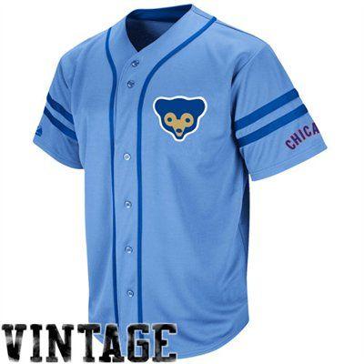 8650efd9554 Majestic Chicago Cubs Cooperstown Throwback Heater Jersey - Light Blue   Fanatics ®  FanaticsWishList