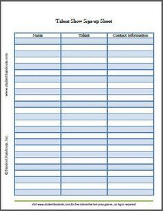 image result for talent show sign up sheet free template family