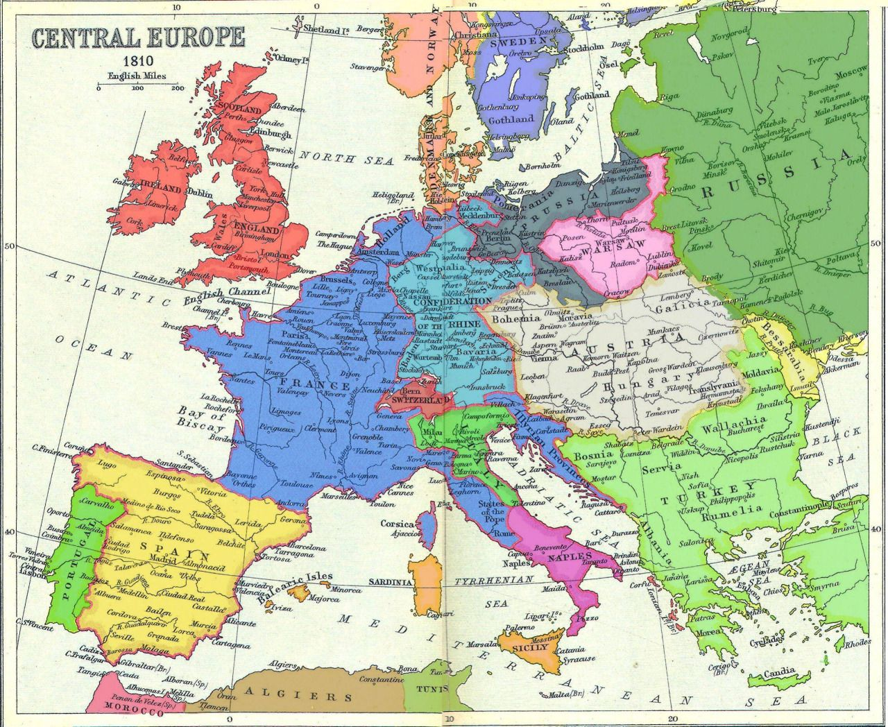 map of europe 1810 A coloured map of Napoleonic Europe, 1810. [[MORE]] A map with