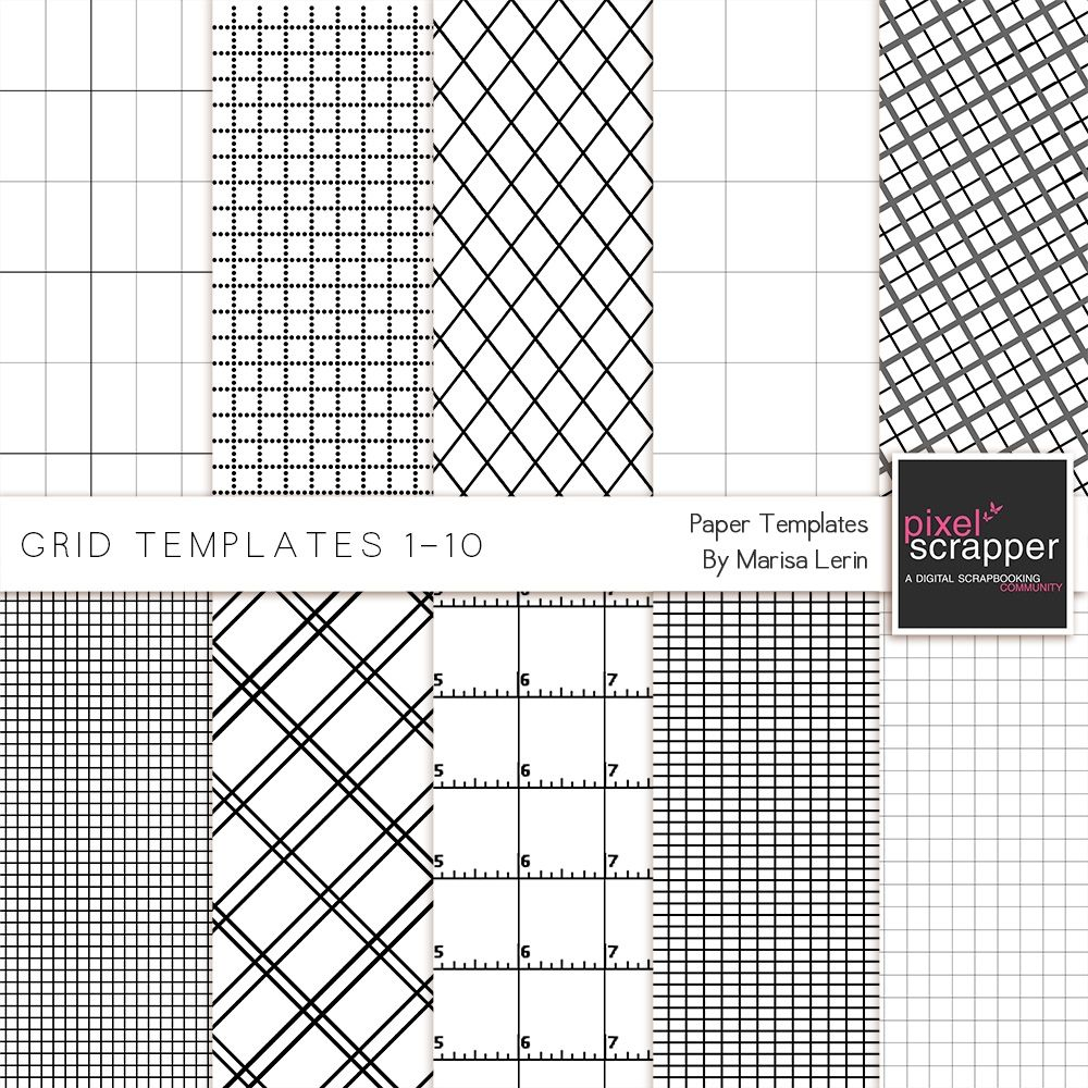 Grid Paper Templates 1-10 Kit | Pixel Scrapper Digital Kits ...