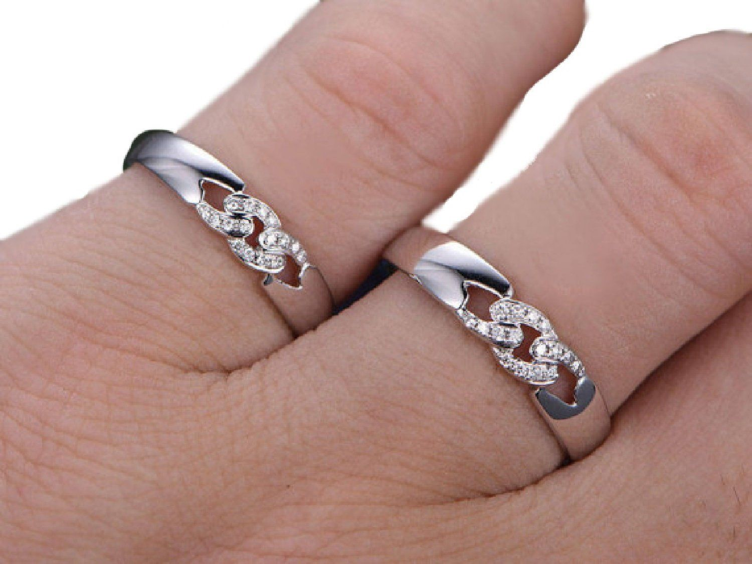 Natural Diamonds 14k Solid White Gold His & Her Ring Set