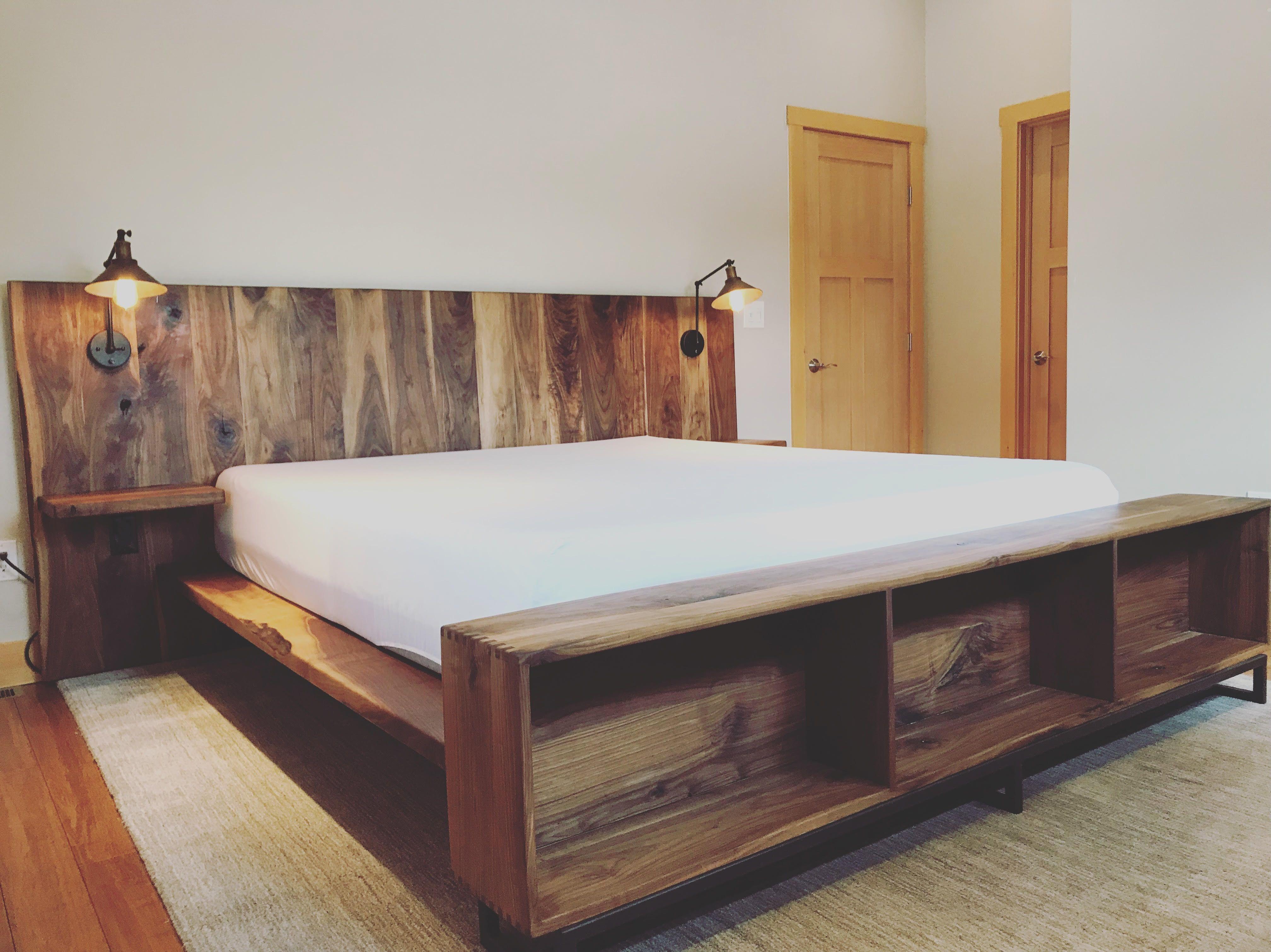 Modern Walnut Bed Frame By Southwest Handmade Heirloom