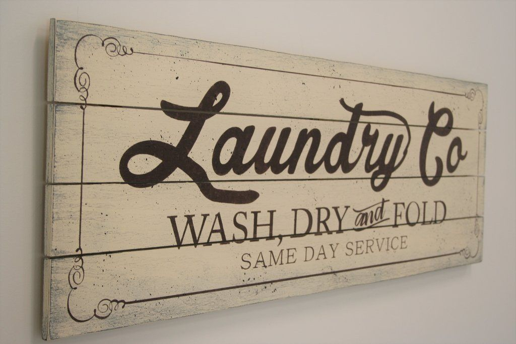 Laundry Co Wash Dry And Fold Wood Room Sign