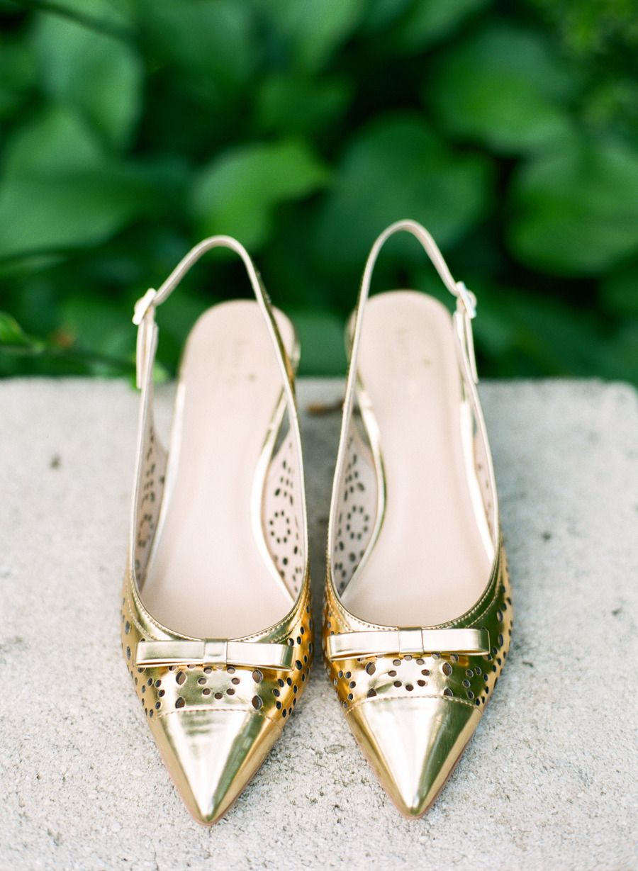 Adorable Kate Spade gold heels | Photography: Taken By Sarah Photography - takenbysarah.com Read More: http://www.stylemepretty.com/2014/12/01/second-chance-wedding-shoot-in-north-carolina-at-the-vanlandingham-estate/