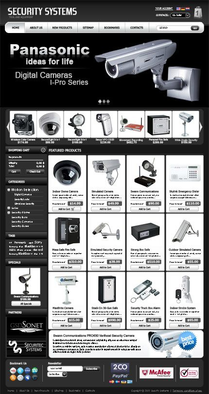 Security System Shop VirtueMart Template | Electronics Themes ...