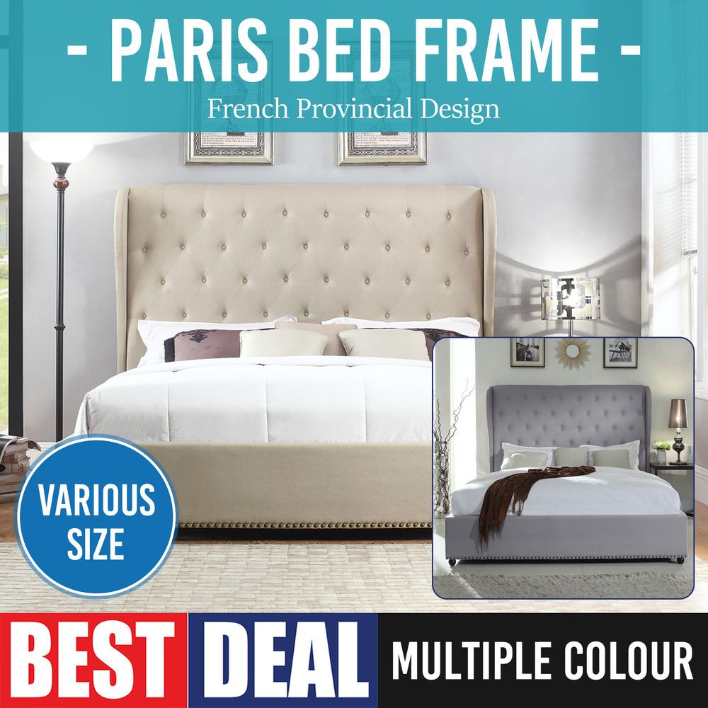 Cheap Beds Melbourne Bed Frame Fabric Upholstered French Wooden Slat Multiple Size