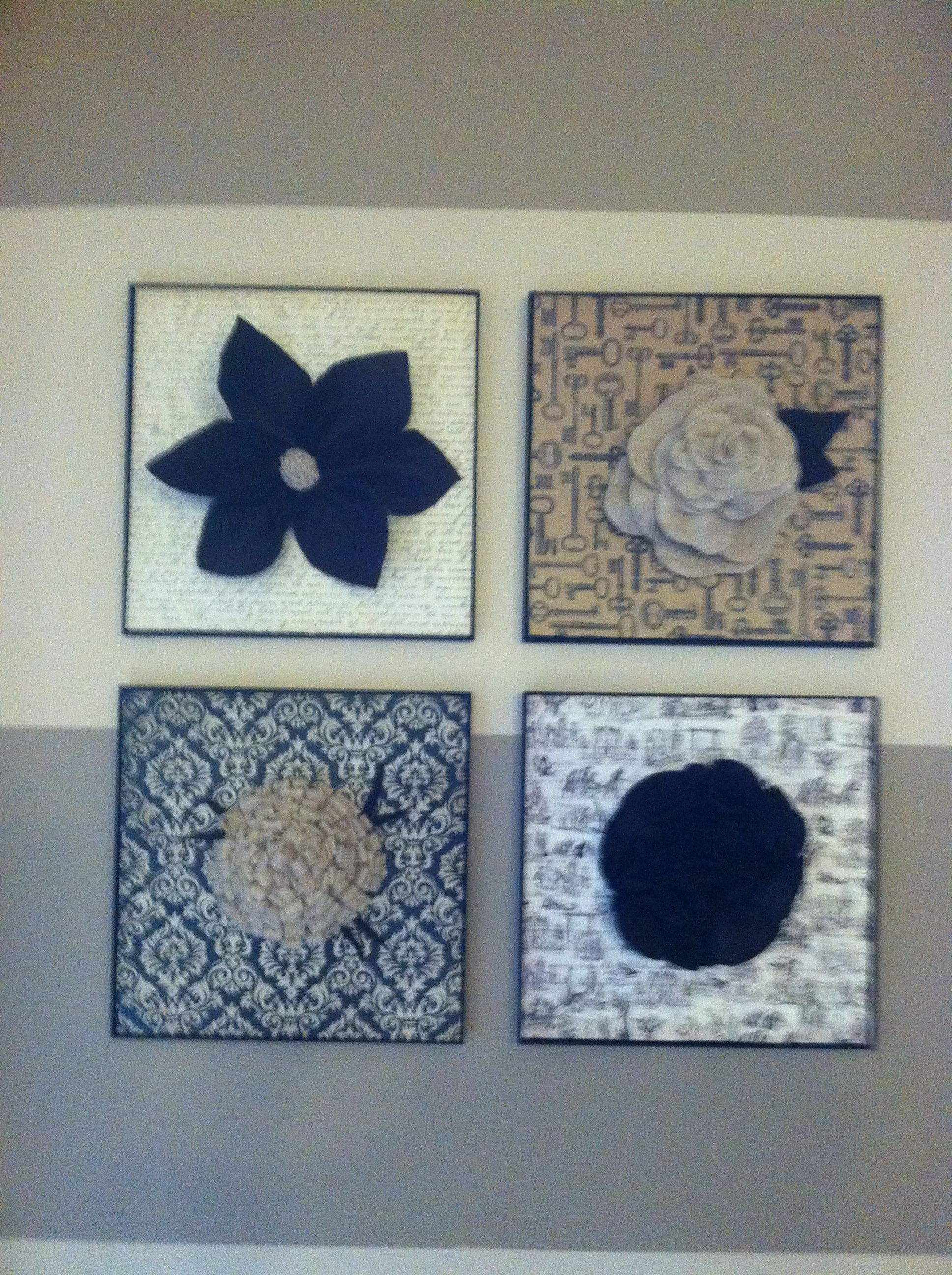 Felt and scrapbook paper flower wall art  House things I should