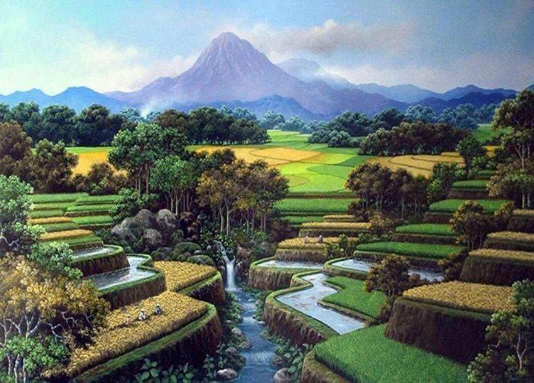 32 Lukisan Pemandangan Alam Sawah Jual Lukisan Pemandangan Alam Sawah Panen Padi Sungai Pegunungan Air Terjun Pasar Trad Di 2020 Pemandangan Foto Alam Fotografi Alam