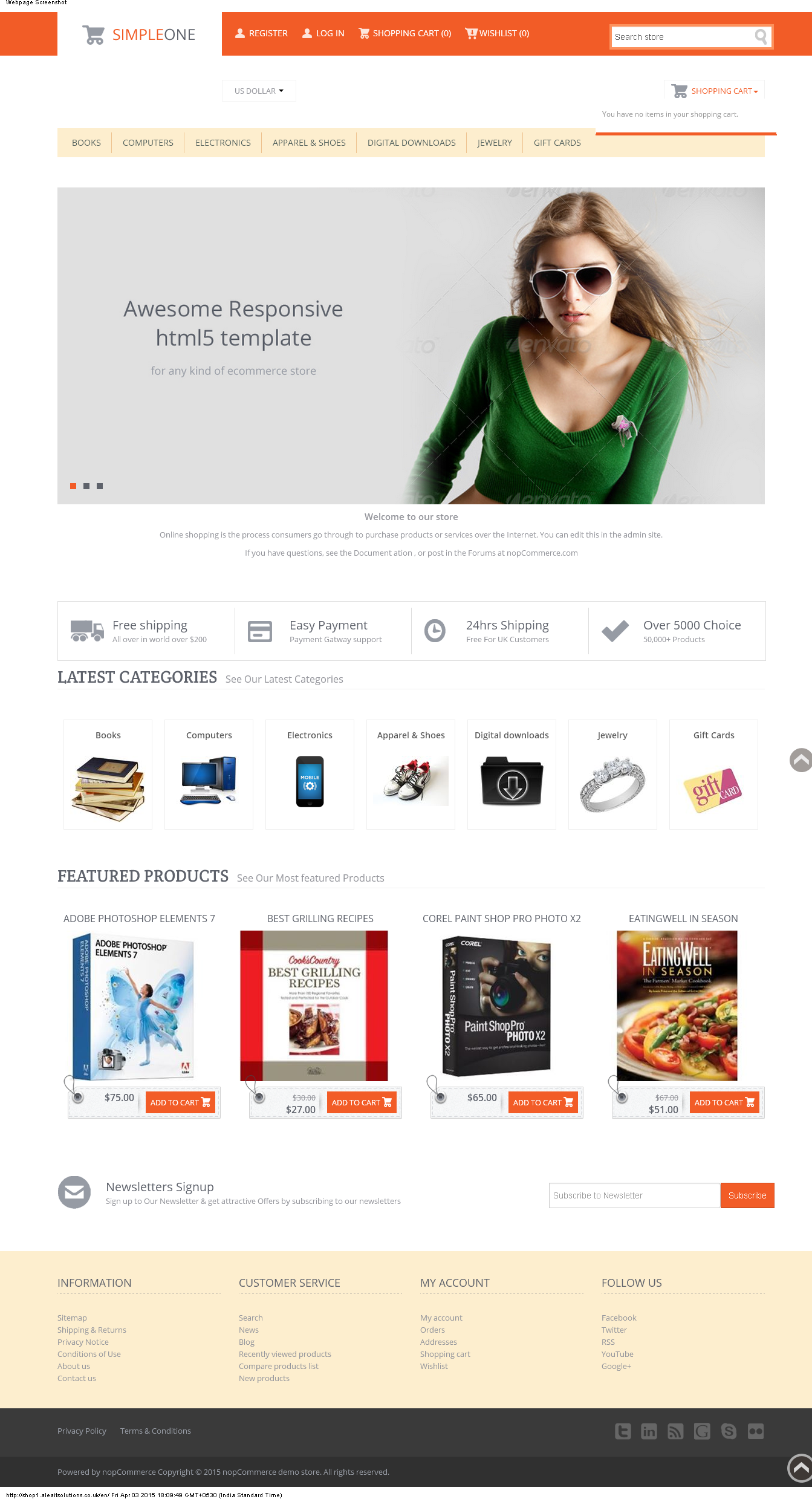 Asp Website For Shopping Developed Using Opensource Ecommerce