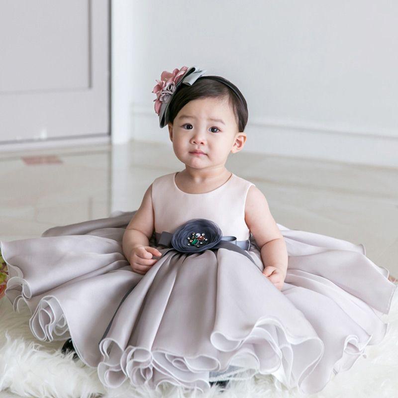 73bbb08bf Light Grey Organza Baby Flower Girl Dress Toddler Formal Dress ...