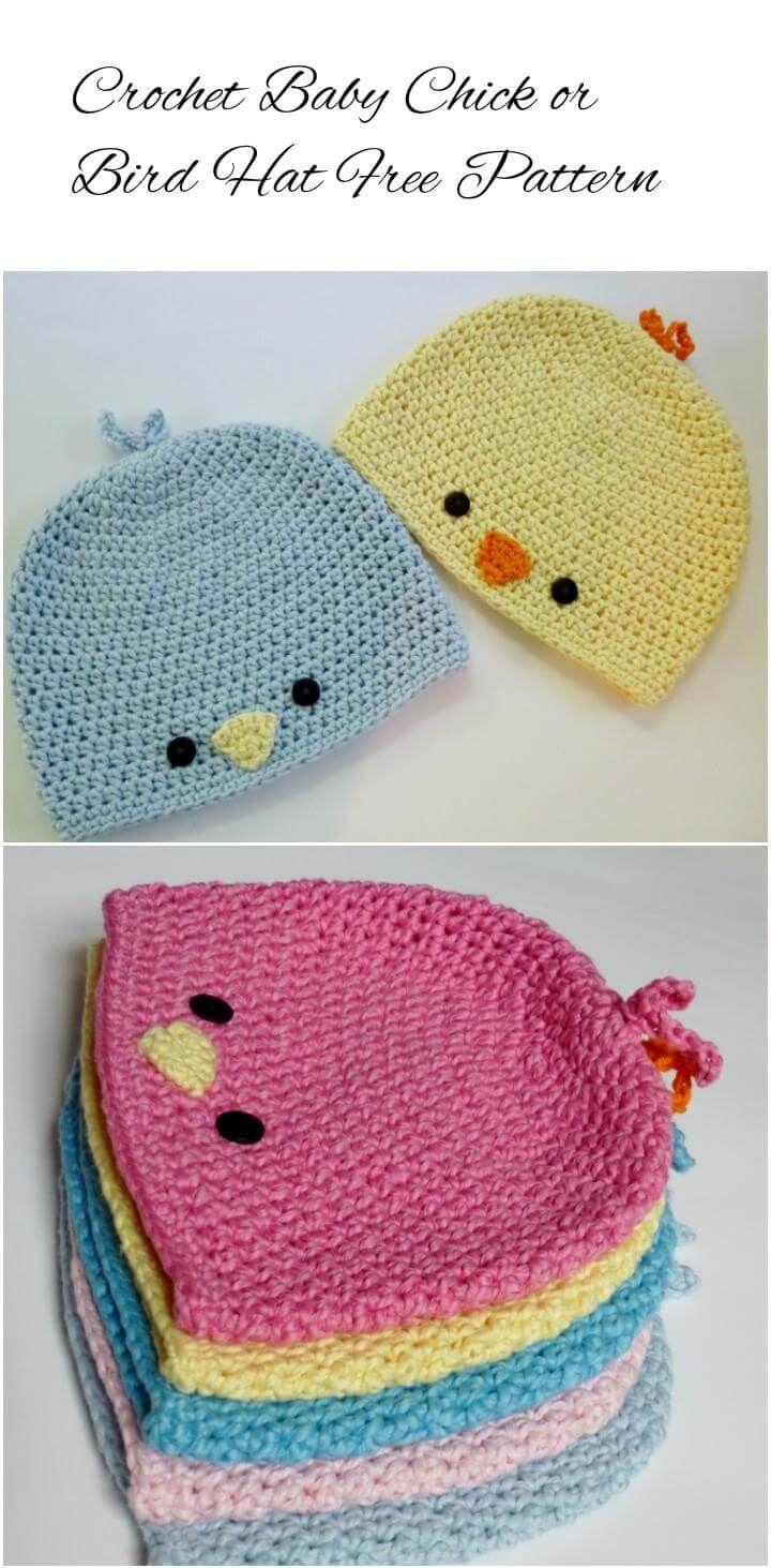 Free-Crochet-Baby-Bird-or-Chick-Hat-Pattern.jpg (720×1463) | Gorro ...