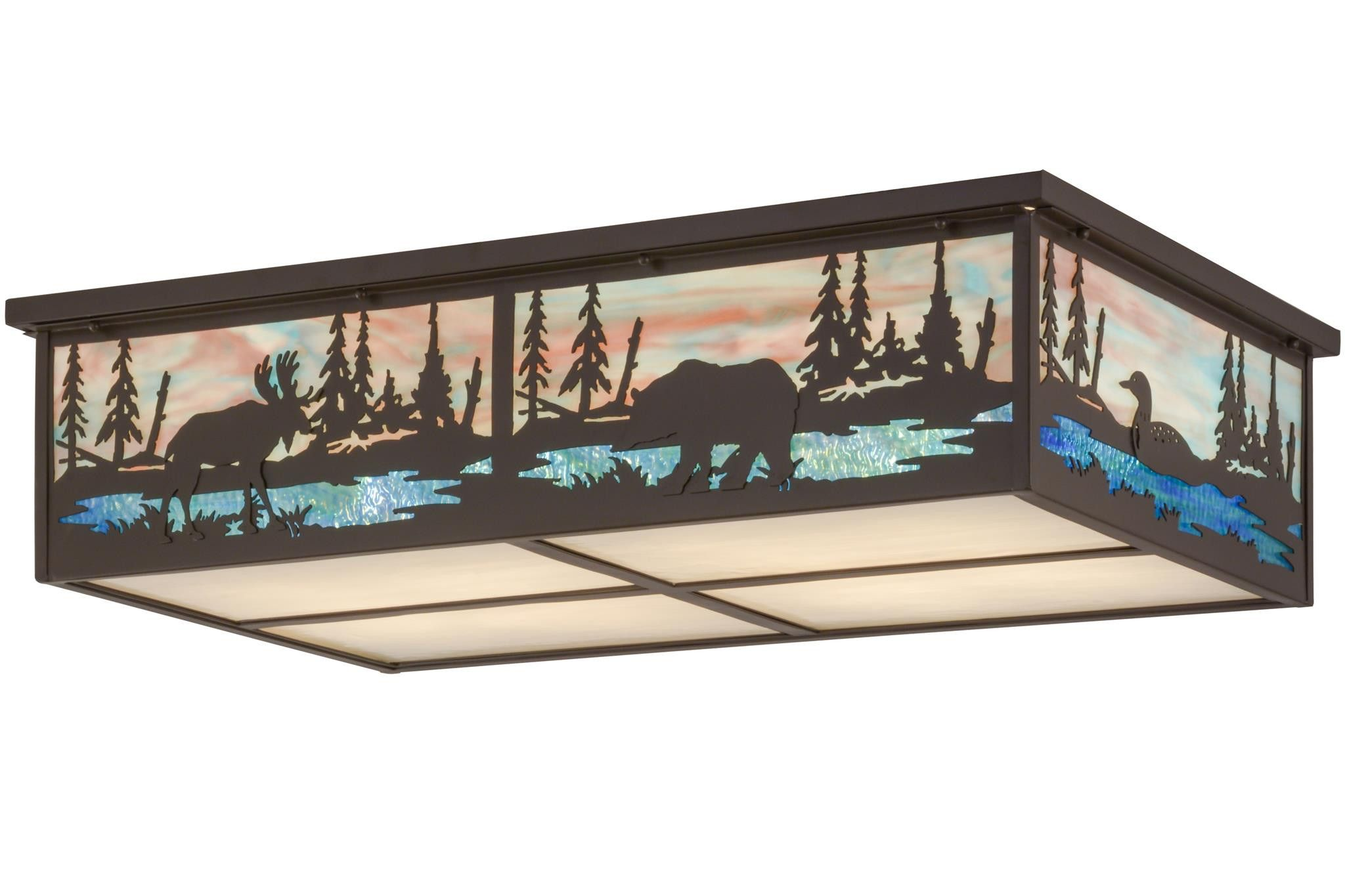 36 Inch L Wildlife At Pine Lake Flushmount - 36 Inch L Wildlife At Pine Lake flush mountInvite the Great Outdoors inside your home or business with this stunning lighting design, which features themajestic Elk and Bear meandering around a Crystal Blue woodland lake with a beautiful sky at dusk in the background. This fixture features White? and Blue art glass with decorative accents and hardware in aTimeless Bronze finish. Crafted by the hands of Meyda artisans at the foothills of the…