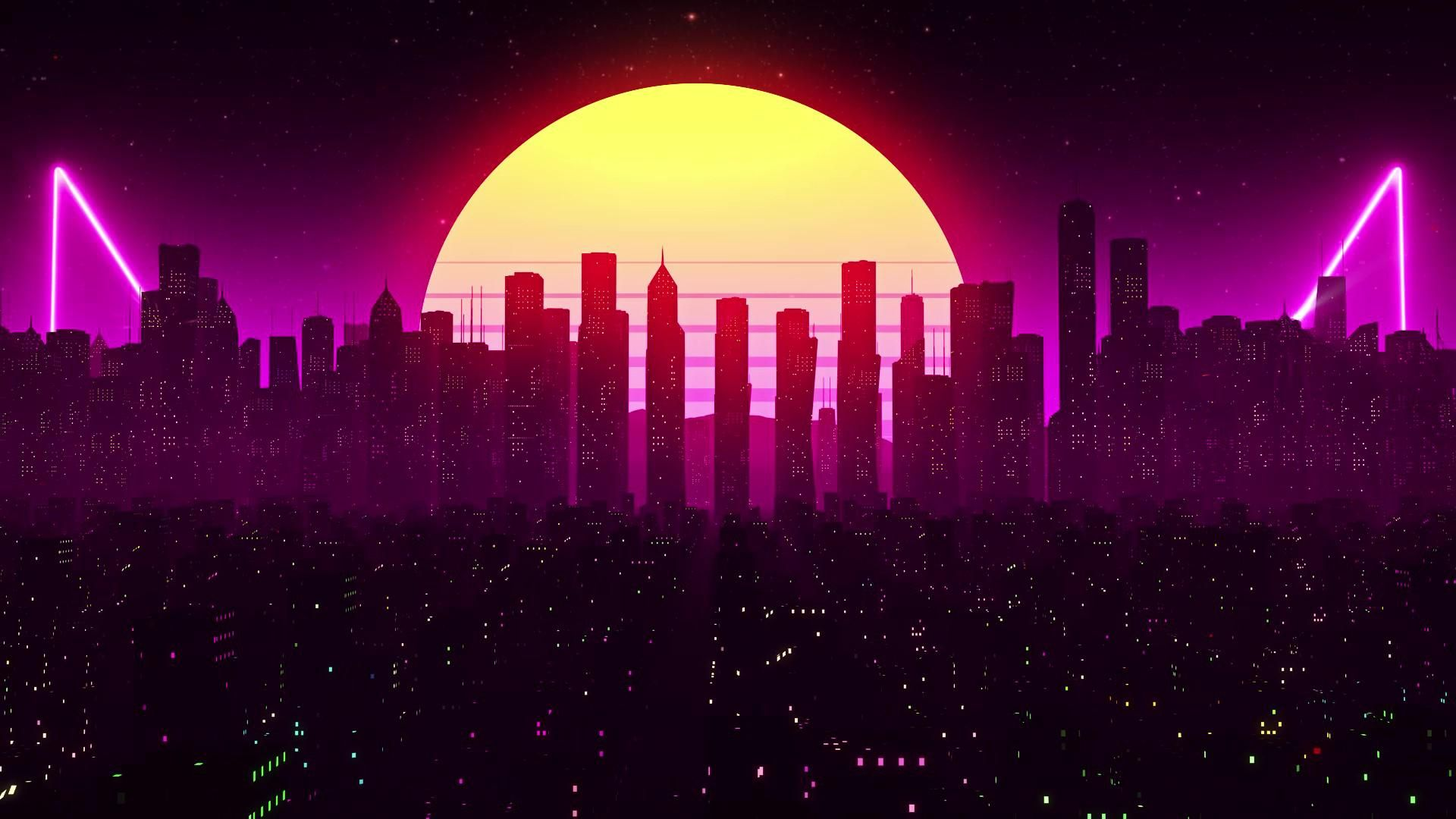 Retrowave City Amp Moon Live Wallpaper 1920 X 1080 Computer Wallpaper Desktop Wallpapers Live Wallpaper For Pc Cool Wallpapers For Laptop