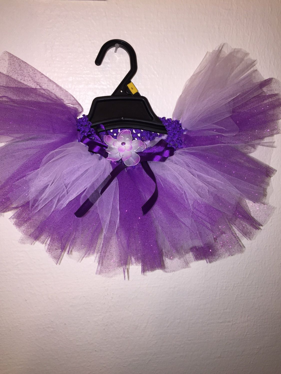 Sparkle Tulle Purple and Lavender Tutu!  Newborn 0-12 Attached bow with purple  flower! Strechy waist  Beautiful!  Prop Pics! Birthday! by ShinyNGlitzyOriginal on Etsy https://www.etsy.com/listing/234324811/sparkle-tulle-purple-and-lavender-tutu