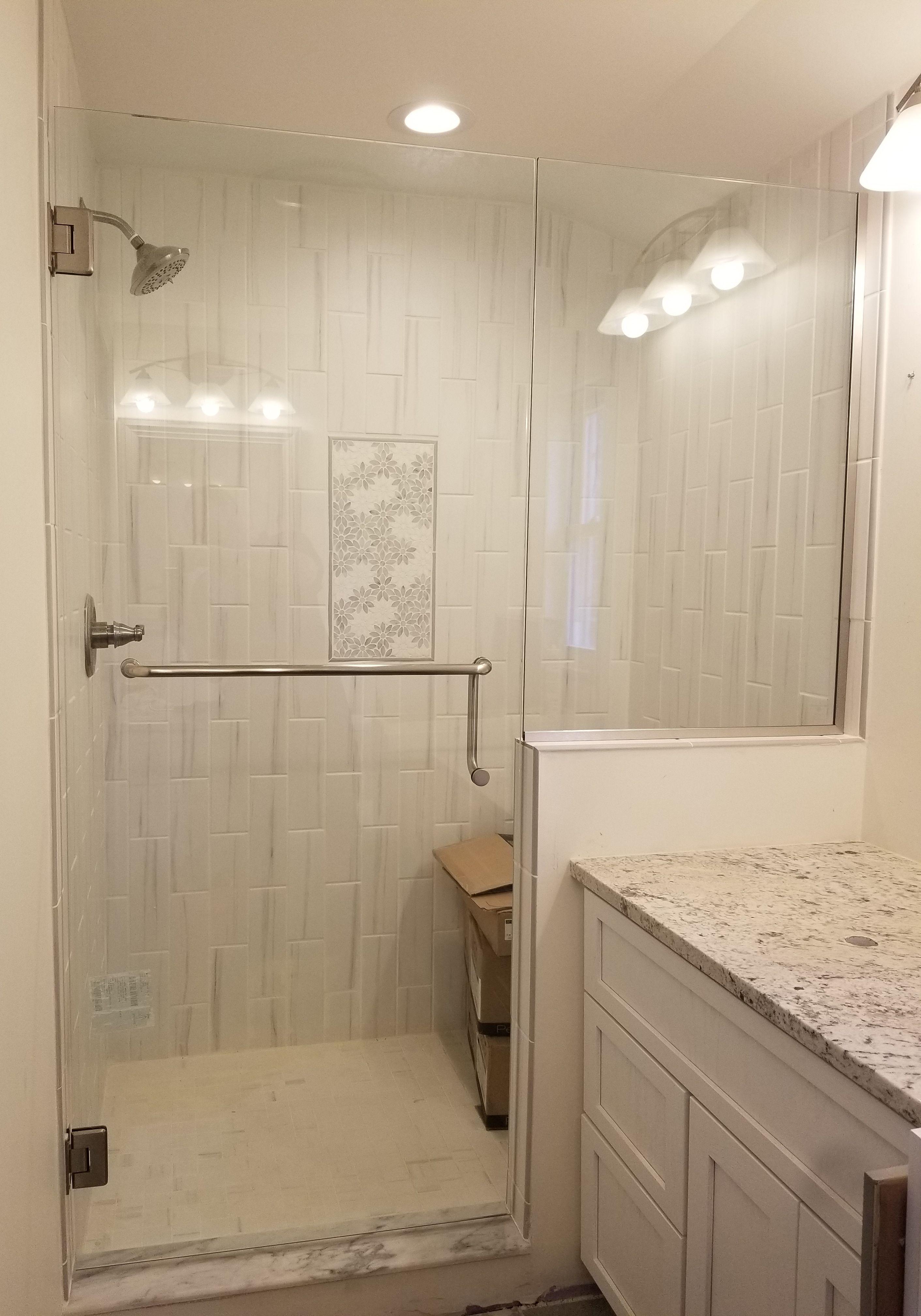 panel door with brushed nickel handle towel bar combo from shower rh pinterest com