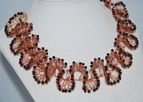 Wire wrapped necklace Bib necklace Tie necklace Statement necklace Wire necklace Copper necklace Modernistic necklace Wire wrap jewelry