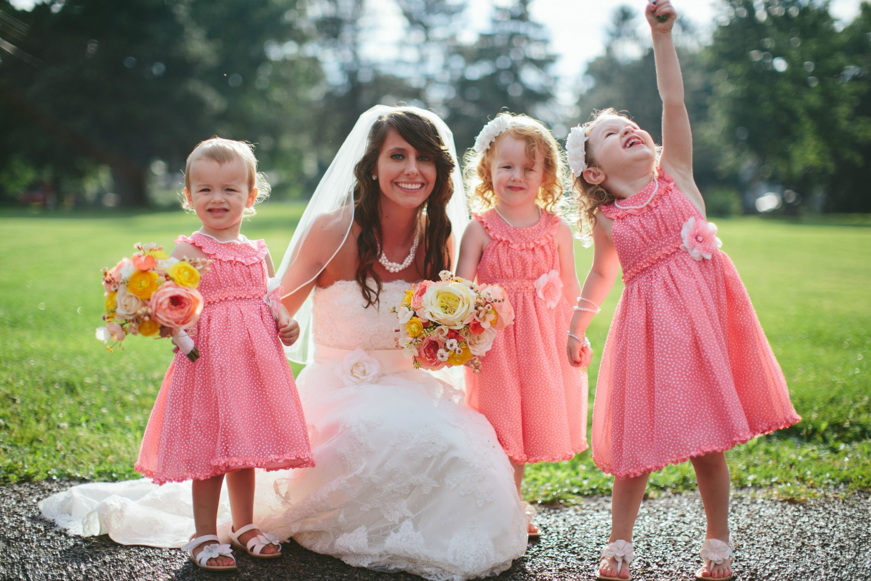 Flower Girls - Coral & Gray Wedding - Rustic Wedding - Flower Girl ...