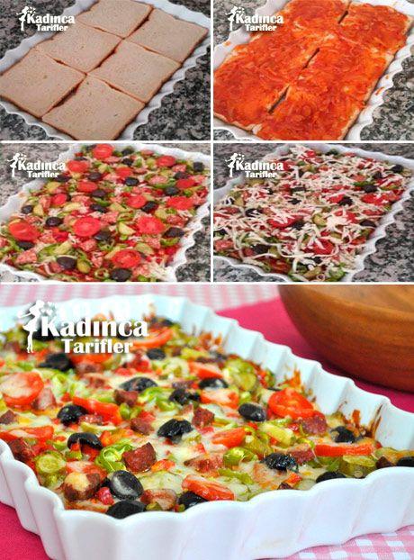 Tost Ekmeğinden Pratik Pizza Tarifi, Nasıl Yapılır #fondue