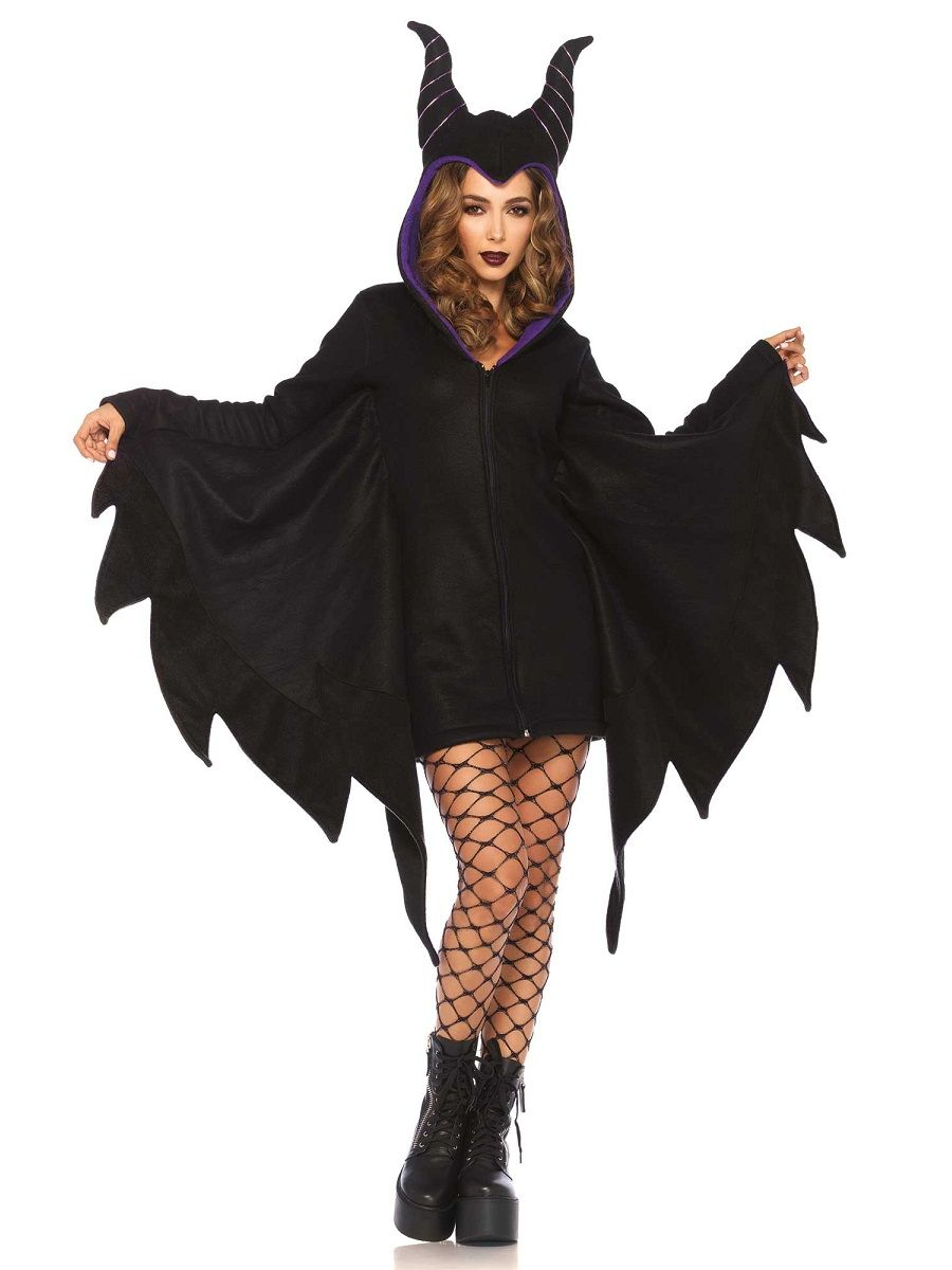 Look maliciously magnificent in our Adult Cozy Villain Costume! Womenu0027s villain costume includes a black zip-up dress with horns attached to the hood.  sc 1 st  Pinterest & Adult Cozy Villain Costume - 85519 - Fancy Dress Ball | Kidu0027s around ...
