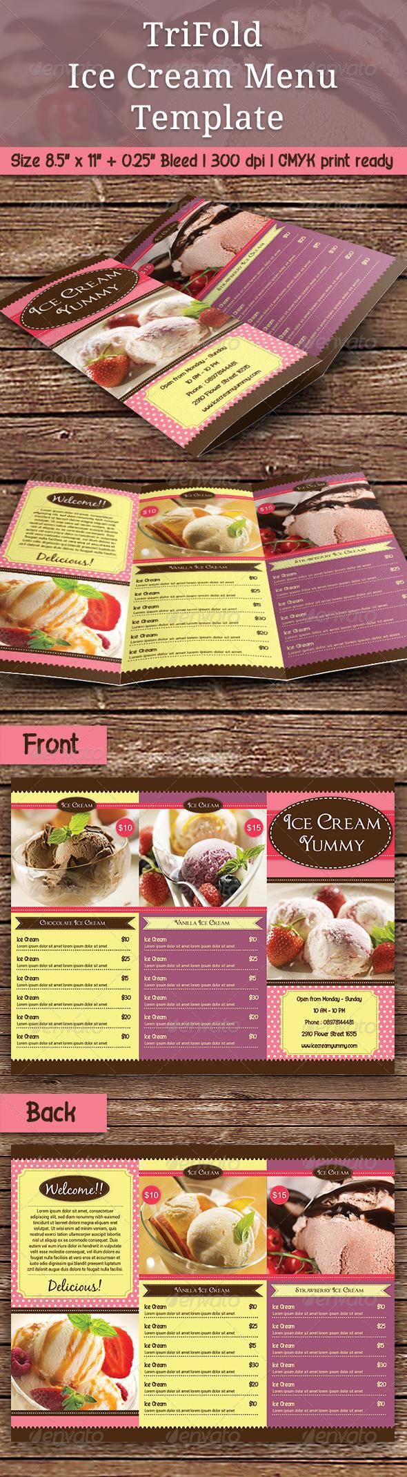 trifold ice cream menu template ice cream menu menu templates and