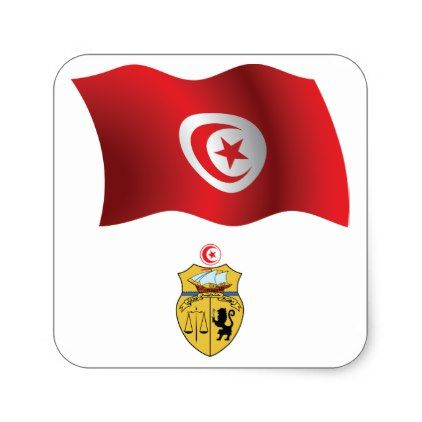Tunisia flag stickers country gifts style diy gift ideas