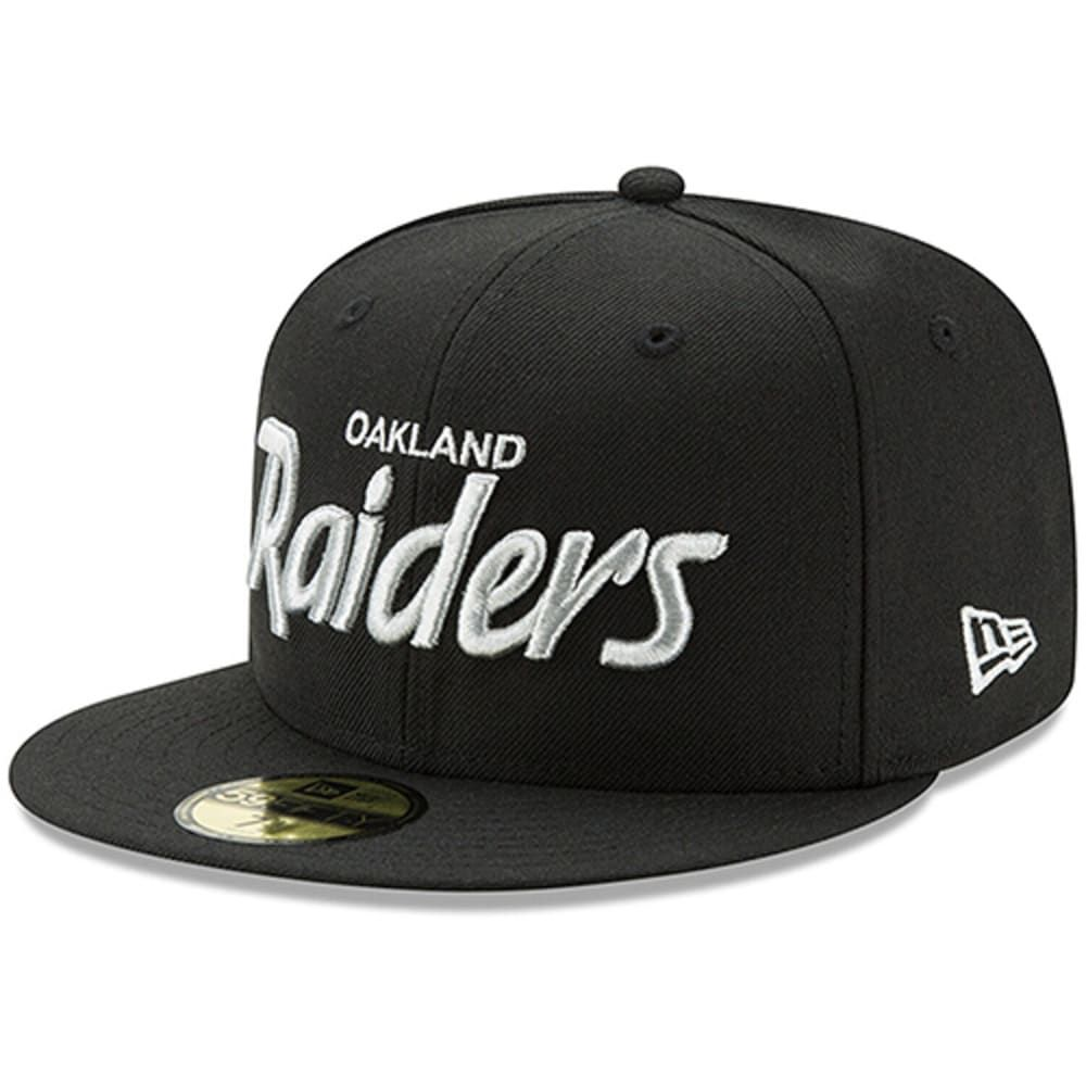 Men S New Era Black Oakland Raiders Script Logo Omaha 59fifty Fitted Hat Hats For Men Fitted Hats Oakland Raiders