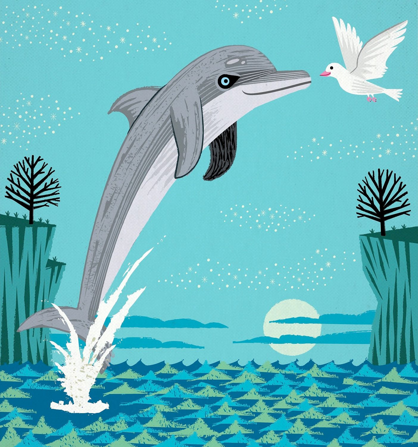 The Dolphin and The Dove Limited Edition by iotaillustration