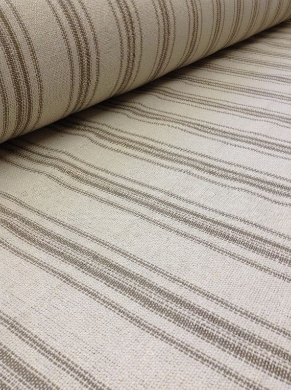 Feedsack Farmhouse Fabric French Country Reproduction Grain Sack Fabric By the yard Feed Sack Fabric Tan Stripe